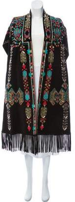 Valentino Embellished Suede Cape