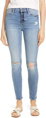 Frame Le Skinny High Waist Button Fly Ankle Jeans