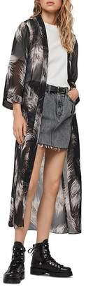 AllSaints Carine Feather Print Kimono Robe