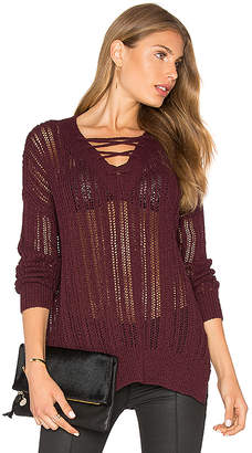 Michael Stars V Neck Lace Up Tunic in Wine $158 thestylecure.com