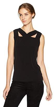 Nine West Women's Solid Ity Blouse with Cut Outs on Neckline