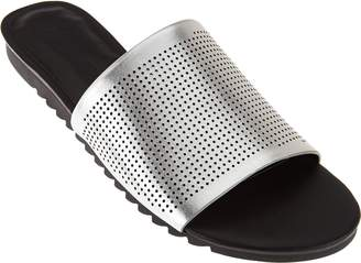 Halston H By H by Open-Toe Perforated Leather Slides - Bailey
