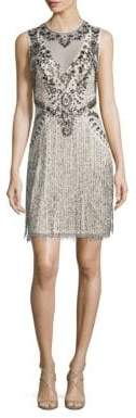 Aidan Mattox Sleeveless Beaded Fringe Dress