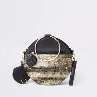 River Island Womens Black gold tone handle round cross body bag