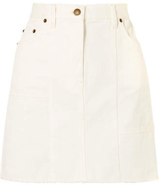 McQ Frayed Paneled Denim Mini Skirt - White