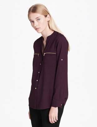 Calvin Klein mandarin collar roll-up sleeve blouse