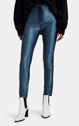 Taverniti So Ben Unravel Project Women's Satin-Effect Lace-Up Leggings - Blue