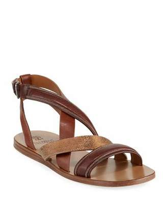 Brunello Cucinelli Flat Multi-Strap Leather Sandals