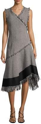 Derek Lam Women's Fringe Trim Asymmetrical Dress
