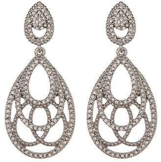 Jenny Packham Pave Crystal Openwork Teardrop Earrings