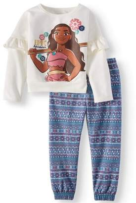Moana Ruffle Sleeve French Terry Top & Jogger Pants, 2pc Outfit Set (Toddler Girls)
