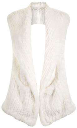 Yves Salomon Hooded Rabbit Fur Scarf