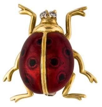 18K Diamond & Enamel Ladybug Brooch