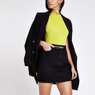 River Island Womens Black belted denim skirt