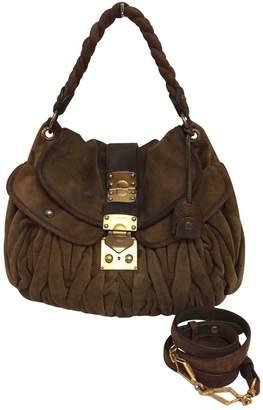 Miu Miu Matelasse Brown Suede Handbags