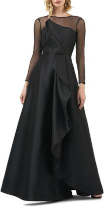 Kay Unger Adele Long Sleeve Applique Gown