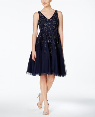 Adrianna Papell Embellished Fit & Flare Dress $279 thestylecure.com