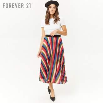 Forever 21 (フォーエバー 21) - Forever 21 レインボーストライププリーツロングスカート