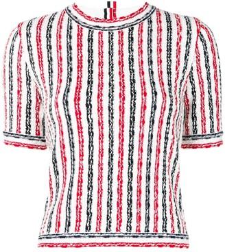Thom Browne Wide University Stripe Yarn Tee