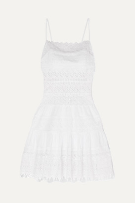 Joya Charo Ruiz Crocheted Lace Cotton-blend Mini Dress - White