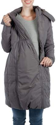 Modern Eternity Madison Quilted 3-in-1 Maternity Puffer Coat with Faux Fur Trim