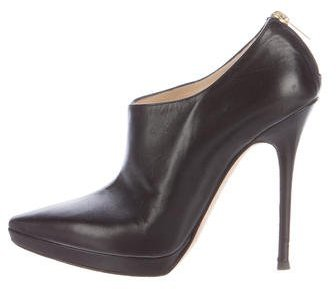 Jimmy Choo Jimmy Choo Leather Pointed-Toe Booties