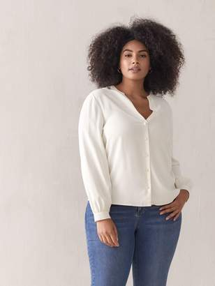 Buttoned Balloon-Sleeve Blouse - Addition Elle
