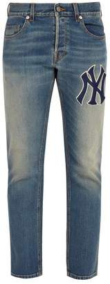 Gucci Ny Yankees Appliqued Tapered Leg Jeans - Mens - Blue