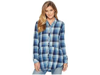 Mod-o-doc Stone Washed Indigo Plaid Long Sleeve Button Front Shirt w/ Front Pockets
