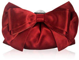 Judith Leiber Couture Madison Satin Bow Clutch Bag, Silver/Crimson