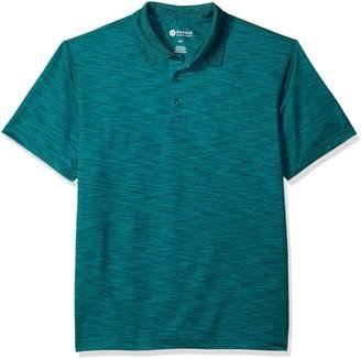 Haggar Men's Short Sleeve Marled Knit Polo, Black Grid 2, L