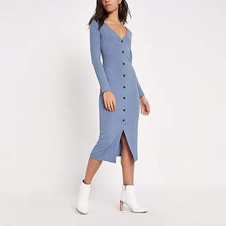 River Island Womens Light blue ribbed button front bodycon dress