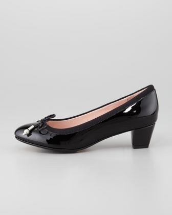 Taryn Rose Fairlawn Patent Leather Bow Pump, Black