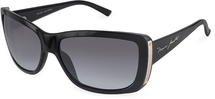 Marc Jacobs Plastic Rectangular Signature Temple Sunglasses