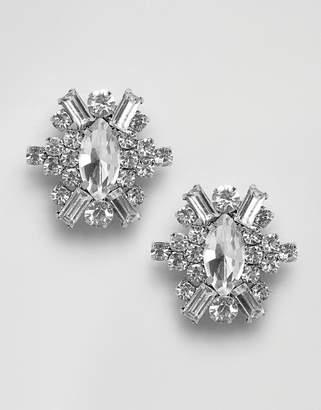 True Decadence Oval Embellished Stud Statement Earrings