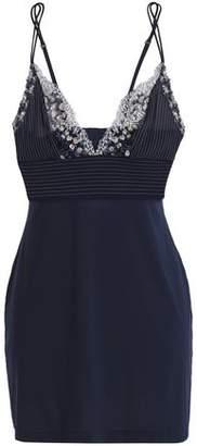 La Perla Embroidered Mesh-Paneled Stretch-Jersey Camisole