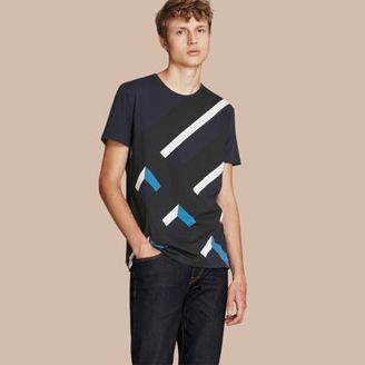 Burberry Abstract Check Print Cotton T-shirt $225 thestylecure.com