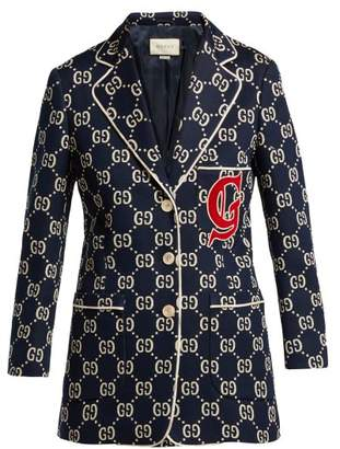 5a804a9d3f9 Gucci Gg Logo Cotton Blazer - Womens - Blue Multi