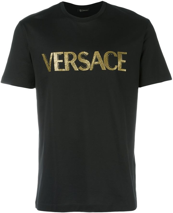 versace embroidered logo tshirt shopstyle men