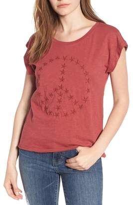 Lucky Brand Embroidered Peace Sign Tee