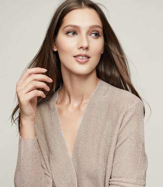 Reiss LEE METALLIC WRAP-FRONT JUMPER Bisque