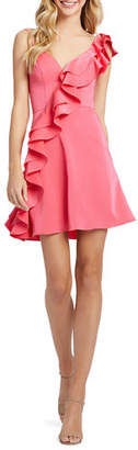 Mac Duggal V-Neck Sleeveless Short Ruffle Dress