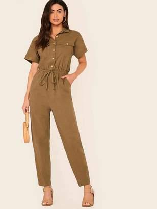 Shein Button Front Drawstring Waist Flap Pocket Jumpsuit