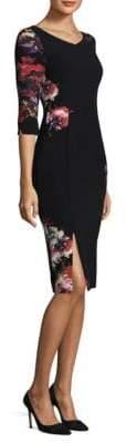 Black Halo Floral Prism Sheath Dress