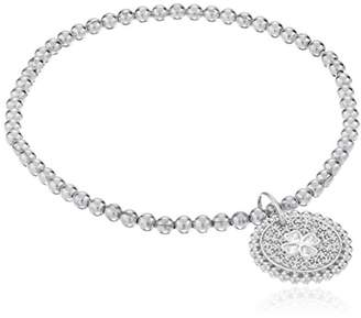 Sterling Silver Diamond Stretch Bead Clover Cut Out with Charm Bracelet