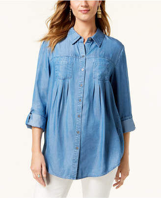 Style&Co. Style & Co Pleated Roll-Tab-Sleeve Shirt, Created for Macy's