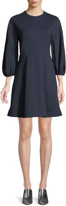 Tibi Bond Stretch Sculpted Button-Back Mini Dress