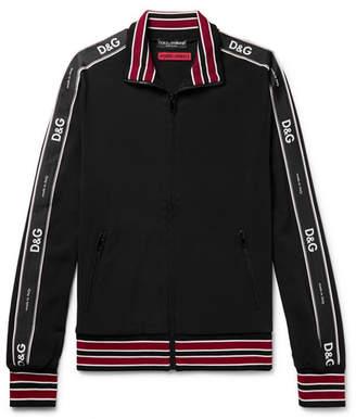 Dolce & Gabbana Logo Satin-Trimmed Stretch-Jersey Track Jacket
