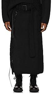 Yohji Yamamoto Men's Lace-Up Mixed-Knit Belted Skirt-Black