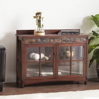 Southern Enterprises Cardaro Mission Faux Slate Sideboard and Display Curio, Redwashed Espresso
